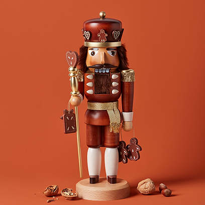"15"" Gingerbread King Nutcracker, Natural"
