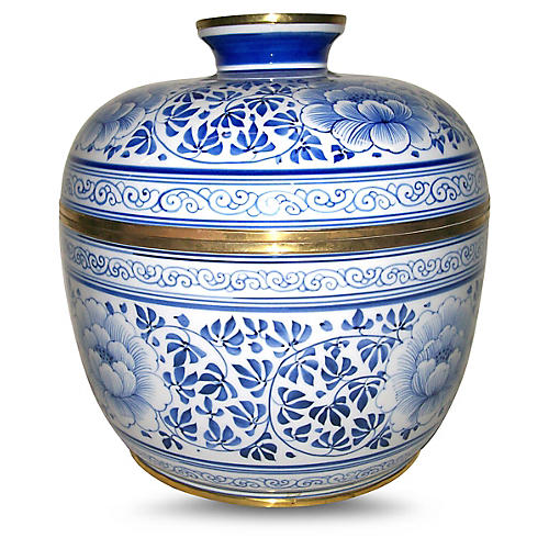 """10"""" Covered Parsley Bowl, Blue/White"""