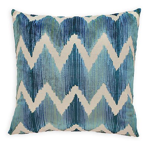Mary 22x22 Velvet Pillow, Blue