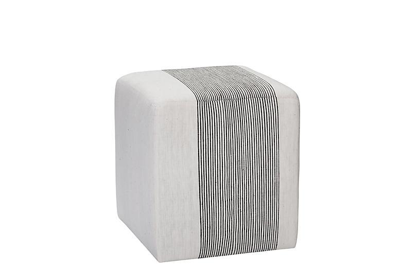 Azur Cube Ottoman, Light Gray