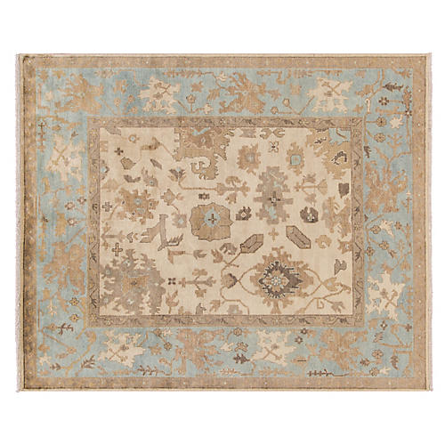 "8'x9'10"" Oushak Hand-Knotted Rug, Beige/Blue"