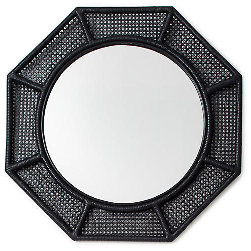 Orly Octagonal Wall Mirror, Black