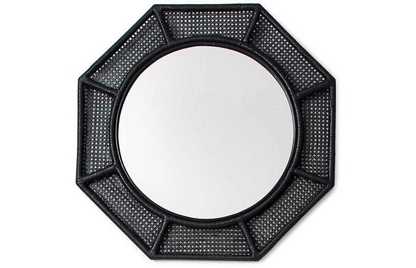 Orly Octagonal Wall Mirror, Black