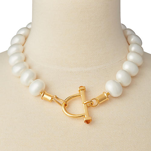 Mother-of-Pearl Stirrup & Hook Necklace, Brass