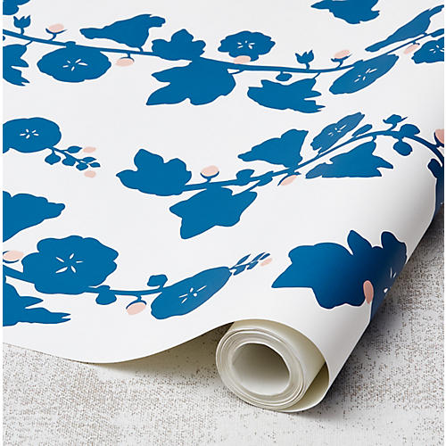 Clare V Hollyhock Wallpaper, Cadet Blue