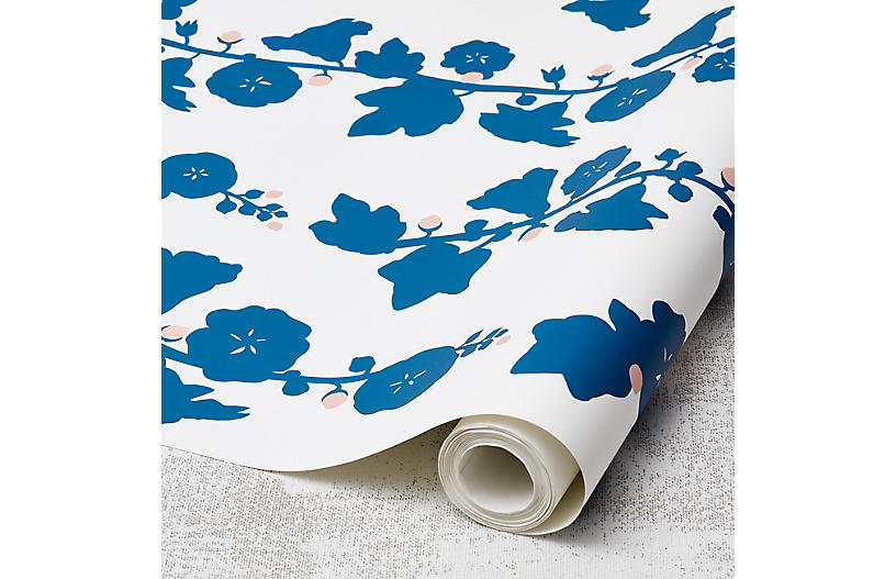 Clare V Hollyhock Wallpaper, Cadet Blue