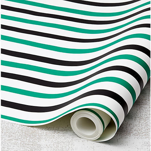 Clare V Stripes Wallpaper, Emerald