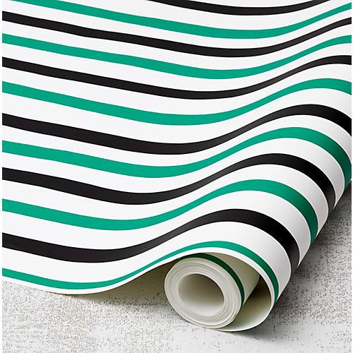 Clare V Stripes Wallpaper, Emerald