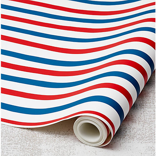 Clare V Stripes Wallpaper, Red/Blue