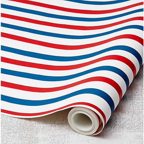 Clare V Stripes Wallpaper, Red/Blue