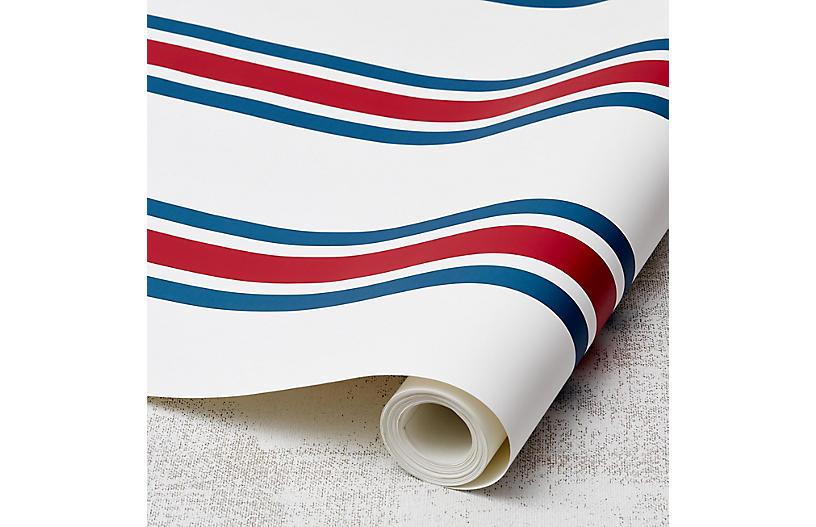 Between the Lines Wallpaper, Cadet Blue/Lipstick
