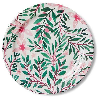 S/4 Draper Lily Melamine Dinner Plates, Pink/Green