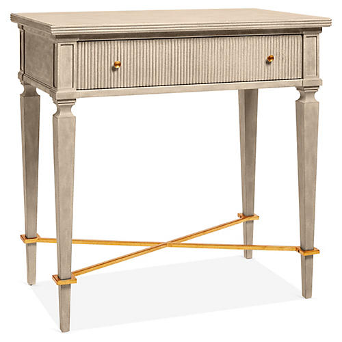 Gustavian Nightstand, Antiqued Gray