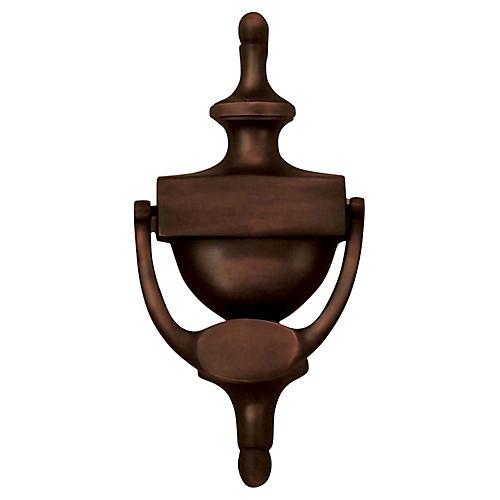 Traditional Urn Door Knocker, Oiled Bronze