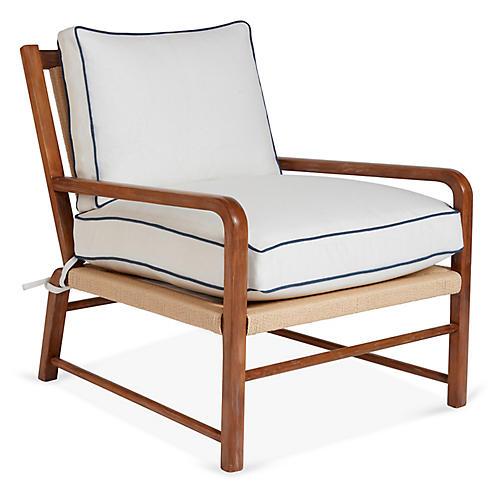 Miramar Accent Chair, Ivory/Blue Linen