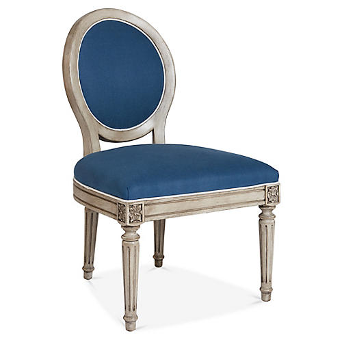 Carlyle Side Chair, Bright Blue Linen