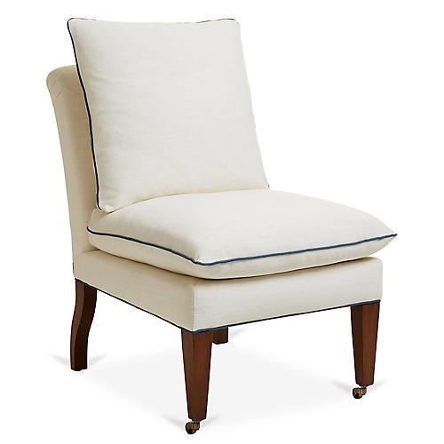 Loring Slipper Chair, Ivory/Blue Linen