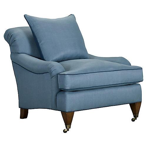 Santa Barbara Club Chair, Medium Blue Linen