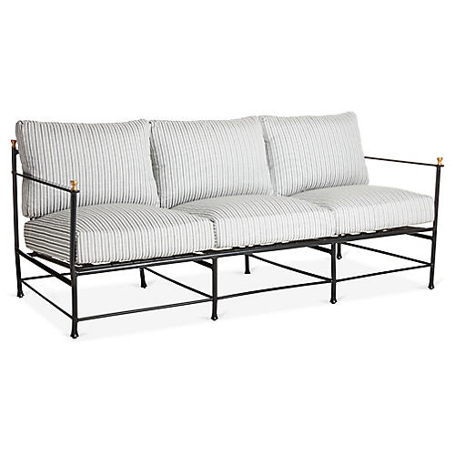 Frances Sofa, White/Black Stripe