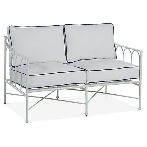 Celia Loveseat, White/Blue
