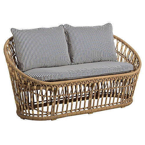 Palma Wicker Loveseat, White/Midnight