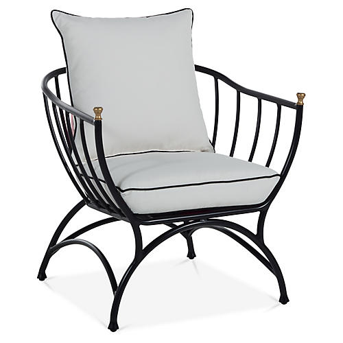 Frances Accent Chair, White/Black