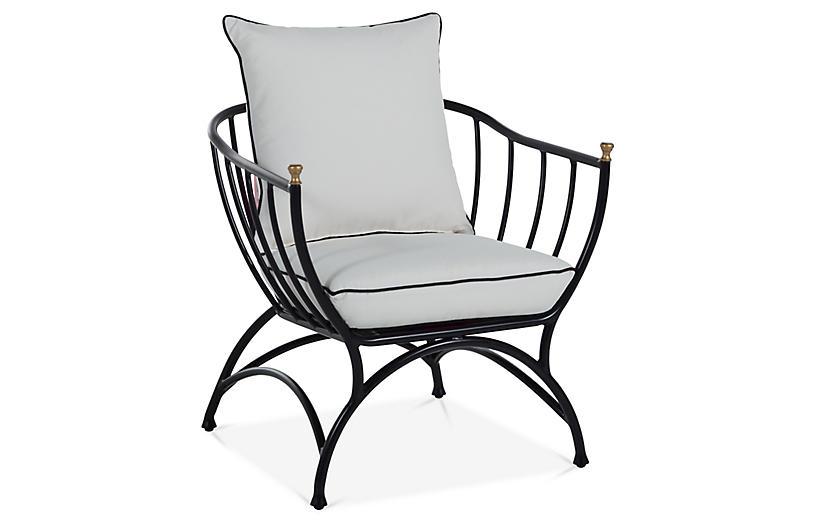 Frances Accent Chair, White/Black
