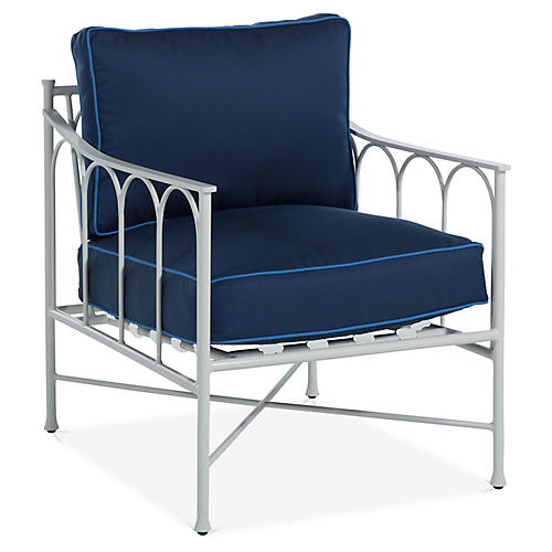 Celia Lounge Chair, Navy/Blue