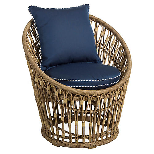 Palma Wicker Chair, Midnight/White