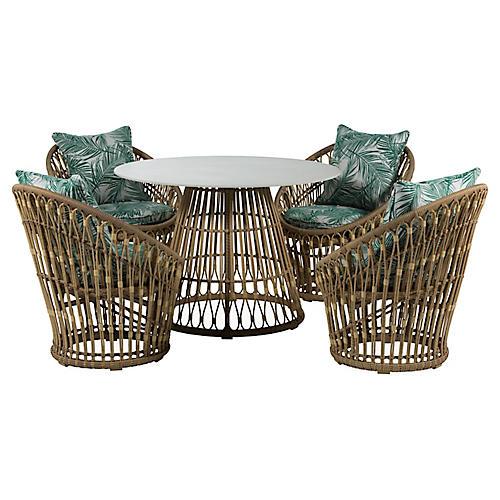 Palma 5-Pc Wicker Dining Set, Emerald/White