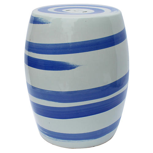Tancredi Garden Stool, Blue/White