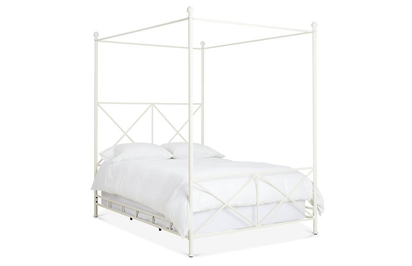 Hudson Canopy Bed, Matte White