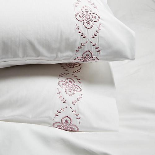 S/2 Floral Pillowcases, Satin Wine