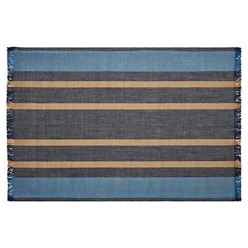 Big Wave Striped Rug, Navy/Multi