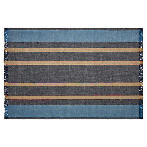 Big Wave Striped Rug, Navy/Multi