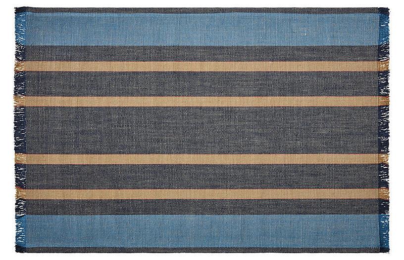 Belgian Linen Rug, Navy/Multi