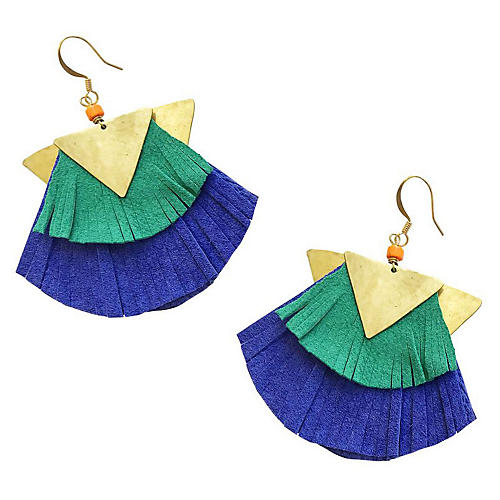 Jet Drop Earrings, Blue/Multi