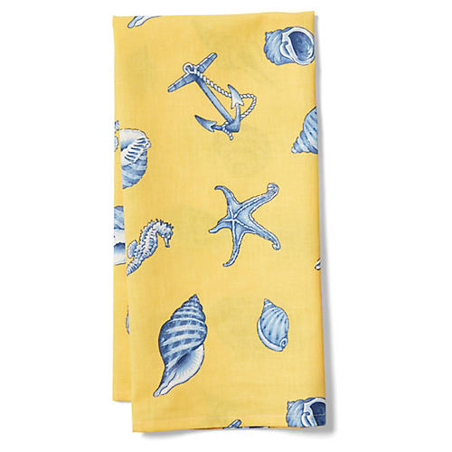 Shells Tea Towel, Yellow/Blue
