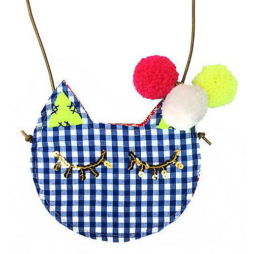 Chester Mini Kitty Cotton Purse, Blue/Multi