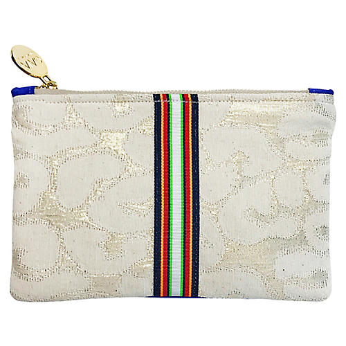 Chloe Reversible Suede Pouch, White/Multi