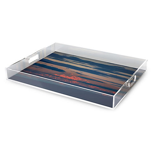 Denali Decorative Tray, Navy/Red
