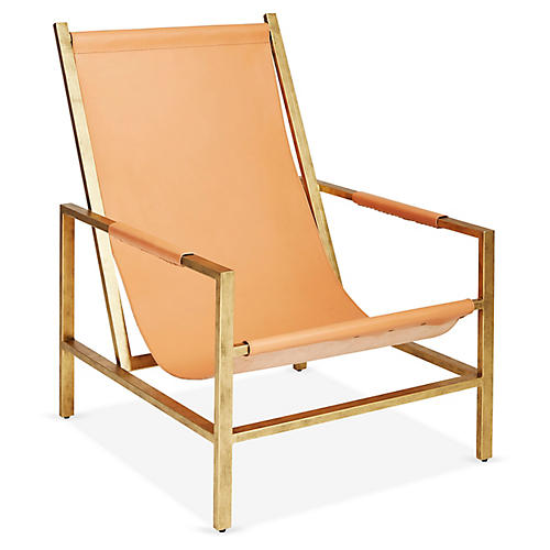 Wright Sling Chair, Bronze/Natural Leather