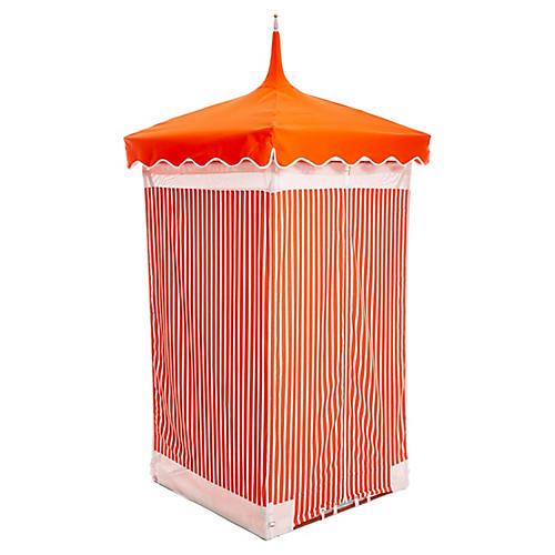 Exuma Outdoor Cabana, Orange/White Sunbrella