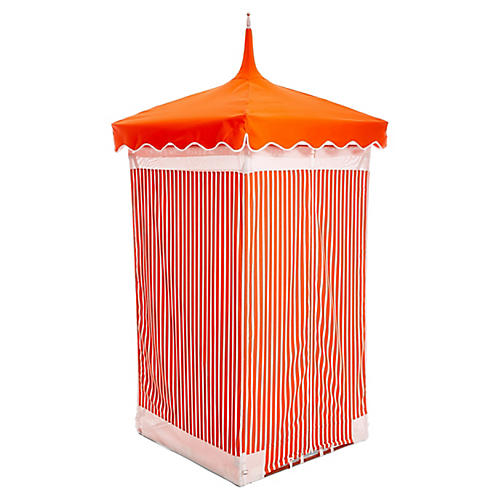 Exuma Outdoor Cabana, Orange/White Sunbrella