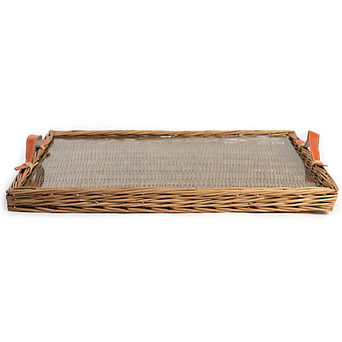Island Decorative Tray, Natural/Orange