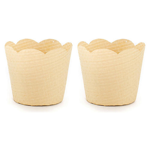 S/2 Orchid Decorative Baskets, Natural