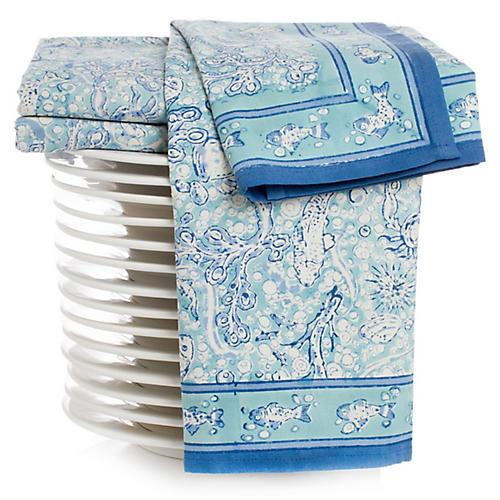 S/3 La Mer Tea Towels, Aqua