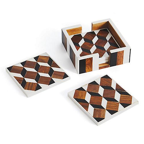 S/4 Mitchell Coasters, Mocha/Multi