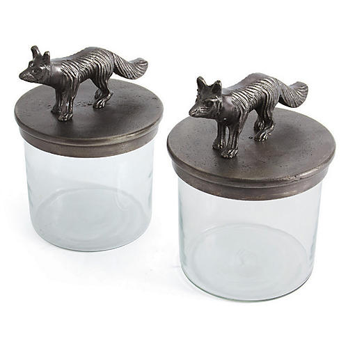 S/2 Lucero Jars, Silver/Clear