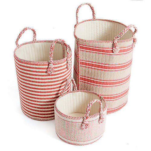 Asst. of 3 Kesler Baskets, Red/Off-White